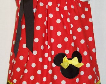 Minnie Mouse Pillowcase Dress / Red & White Dots / Disney / Character / Infant / Baby / Girl / Toddler / Birthday / Custom Boutique Clothing