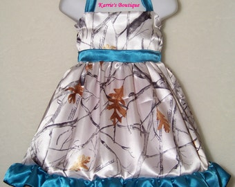 CAMO Flower Girl Dress / Snow Camo + Teal Blue / Halter / Satin / Wedding / Bridesmaid / Pageant / Infant / Baby/ Girl/ Toddler/ Boutique