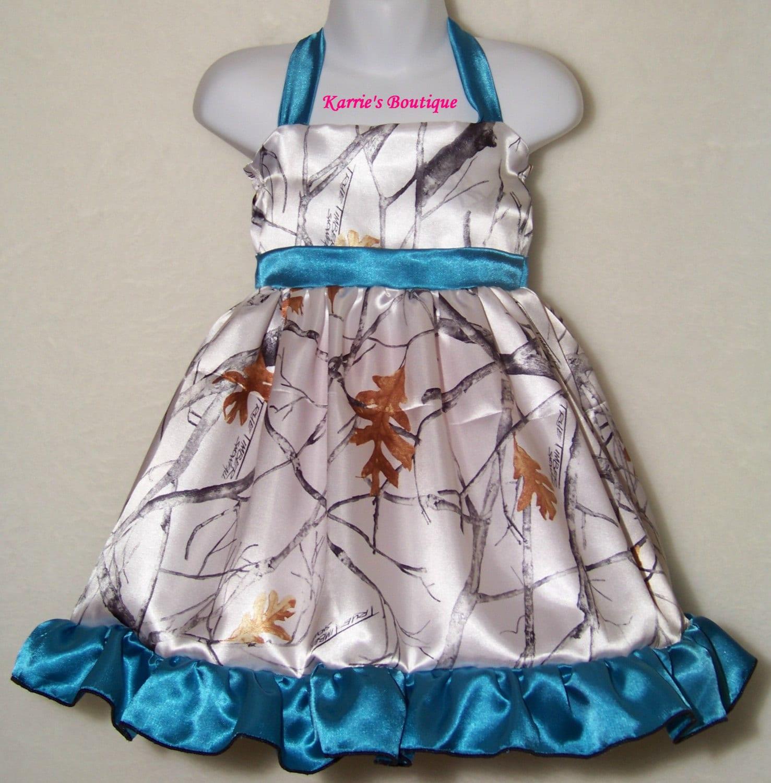 camo flower girl dress / snow camo teal blue / halter /