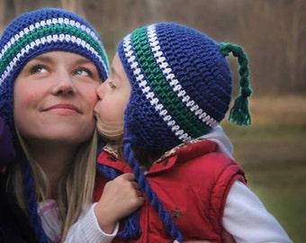 Crochet Hat Pattern: 'Team Sports', Crochet Earflap Hat, Sports Crochet, Toddler - Men