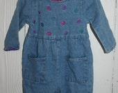 SALE Baby Girl Denim Jumpsuit 12 months MCBABY Vintage 80s Leaf Embroidered Rickrack Trim Blue Jean Jumpsuit for Girls Cute 80s Clothes