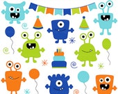 monster aliens clipart clip art birthday party - Boy Monsters Birthday Bash Clipart