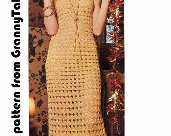 Boho Lacy Goddess Dress 1970s VINTAGE CROCHET PATTERN, Cocktail/Evening/Party Dress, Side slit & Shawl, Pdf from GrannyTakesATrip Pdf 0020