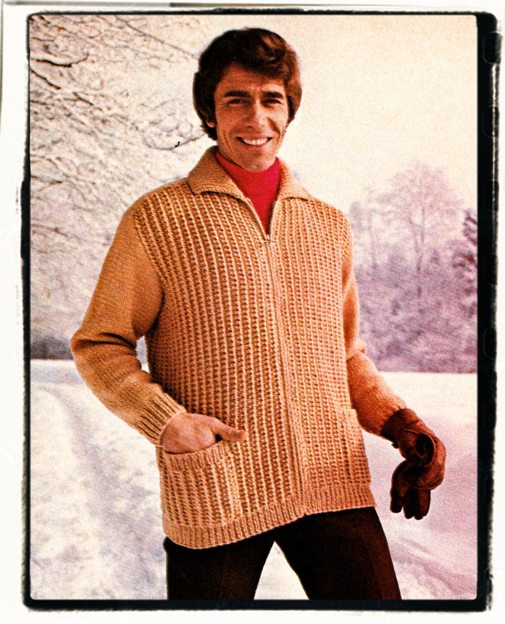 Instant Download PDF Knitting Pattern to make a Mens Zip Up Ribbed Jacket Car...
