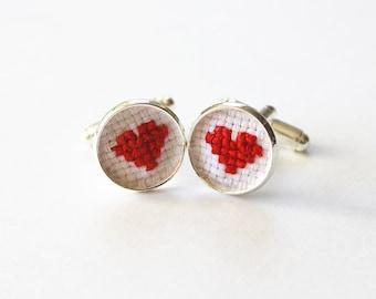 Cross Stitch Heart Cufflinks, Valentine Wedding Groom Gift, Groom Cuff Links, Cotton Anniversary Gift Cufflink, Valentines Day Gift for Him