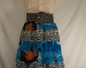Gypsy Dress-Upcycled Animal Print Dress with Ruffles-Junk Gypsy-Cowgirl Chic-Size Medium