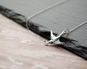 Tiny Sparrow Necklace - Dainty Sterling Silver Bird Necklace | Delicate Minimalist Necklace | Nature Inspired Dove Jewelry | Bird Jewelry