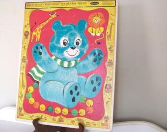 Vintage Puzzle - Blue Teddy Bear  - Fuzzy Wuzzy - Frame Tray - Whitman - Furry - 1967 - Lithograph - Retro Toy