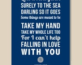 First Anniversary Gift, Custom Nautical Wedding Gift, Personalized Print (song lyrics, poem, vows ) Wedding gift, Custom colors, blue