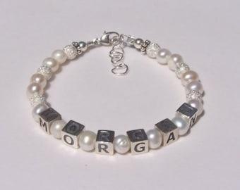 Baby Girl Name Bracelet Flower Girl Gift, Sparkle Beads For Babies and Girls