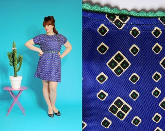 Silk Electric Blue dress (60ies pattern)
