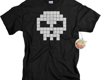 Video Game T Shirt for Men or Boys Black Skull Shirt birthday gift for teenage boy son black skeleton videogame tshirt
