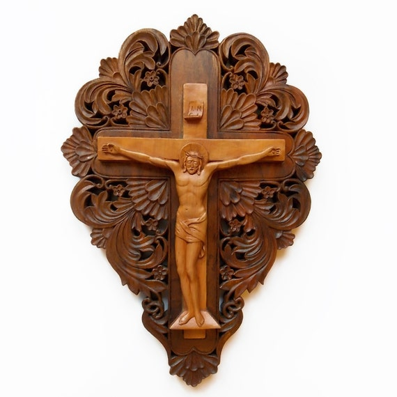 Art Wood Carving Icon Crucifix Orthodox Cross Woodcarving Hand Made Orthodox Christian Religious Wood Wall Art MariyaArts