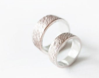 rose - wedding bands // rose gold and sterling silver ripple rings // alternative wedding bands //