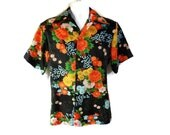 70s Hawaiian Shirt / Beach / Orange / Black / Luau / Sears Hawaiian