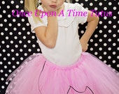 Sock Hop Shabby Flower Headband - Little Girls Music Note Hairbow - Newborn Baby Pink Black White Hair Bow 50's Inspired Bow - Ready To Ship