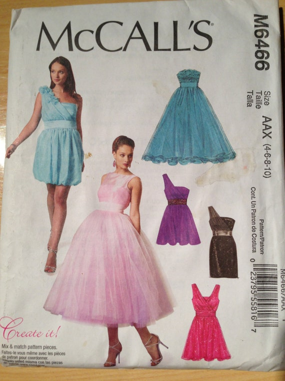 McCalls Sewing Pattern 6466 Uncut Misses Lined Dresses and Flowers Size 4 - 10