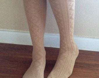 Boot Socks : Cable Knit Cream Knee-High with Brown Stripes & Iridescent Buttons