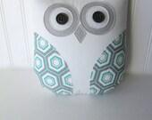 blue owl pillow, aqua blue pillow, hexagon, geometric pillow, owl, aqua, gray and white nursery decor, gift under 40 by whimsysweetwhimsy