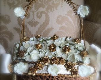 gold and ivory flower girl basket  rustic weddings in gold bling wedding gift for flower girl