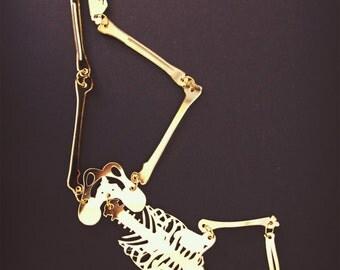 Skeleton Model - Mirrored Gold Lasercut Halloween Window Decoration