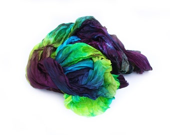 burgundy silk scarf - Mona -  burgundy, turquoise, chartreuse, green, blue silk scarf.