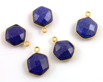 Natural Lapis, Modern  Hexagon Shape Gemstone Component, 24K Gold Vermeil Over Sterling Silver,  12mm 1 Piece, (BZC9025/LAP)