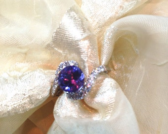 Alexandrite & Topaz Engagement Ring FULL Color Shift Lavender to Baby Blue