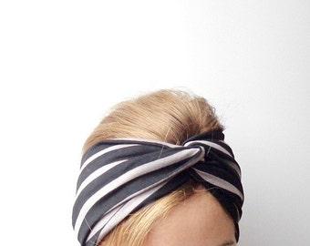Black turban twist headband Jersey earwarmer striped knot head band fashion turband  bad hair day stretch head wrap taupe head covering
