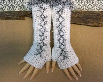 Crochet Fingerless Gloves, White Corset Wool Gloves, Arm Warmers, Gothic Gloves, White Black Burlesque Wrist Gloves, Australia