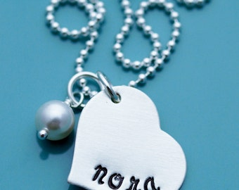 Sterling Silver Heart Pendant Hand Stamped Personalized Necklace name custom Charm Pendant handstamped mother mommy mom engraved children