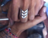 Triangle Ring, Unisex Silver Ring, Personalized Ring, Free Engraving, Chevron Ring, Bohemian Silver Ring, Tribal, Aztec, Rings, Jewelry
