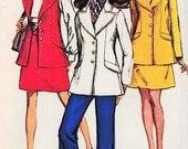 MOD 60s SUIT Pattern Jacket Skirt Bell Bottom Pants Simplicity 8115 Vintage Sewing Pattern Jacket Wide Lapels London Style B 34 UNCUT