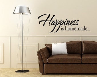 Wall Decal Quote Happiness Is Homemade Inspirational Quotes Happiness Is Homemade Wall Decals (V136)