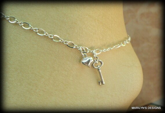 Sterling Silver key and heart anklet, key to my heart anklet, love jewelry, key and heart bracelet