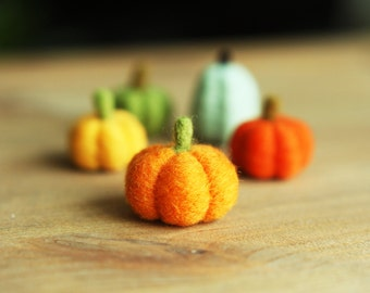 Needle Felted Pumpkins - Eco Friendly Home Decor - Felted Pumpkin - Felted Fall Decoration - Orange Yellow Green - Ready To Ship