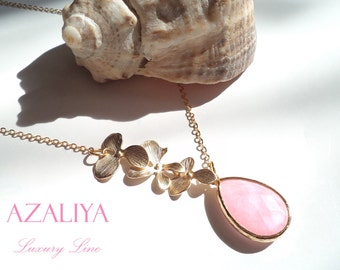 Pale Pink Princess Necklace in Gold. Rose Quartz Necklace. October Birthstone. Azaliya. Bridal, Bridesmaids. Radiant Orchid Necklace.