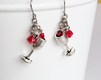 Antique Silver Wine Glass Red Crystal Stainless Steel Earrings, Fun Dainty Drop Dangle Earrings E83