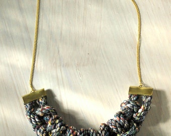 Eco-friendly statement necklace with rope from recycled textile fibers