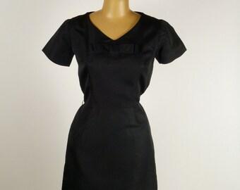 Original 1950's Black Rayon Wiggle Dress LBD