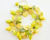 Lemon bracelet Lime bracelet Tropical fruits bracelet Polymer clay jewelry Yellow bracelet Lemon slices Clay flower bracelet MADE TO ORDER