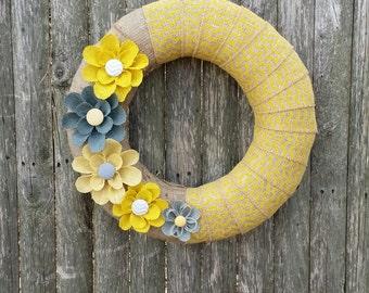 Yellow Summer Wreath, Chevron Wreath, Mother's Day Gift, Home Decor Wreath
