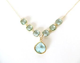 Aqua Necklace Gold Necklace Aquamarine Crystal Jewelry Aqua Bridal Jewelry Aqua Bridesmaid Necklace Something Blue Wedding Jewelry Gift