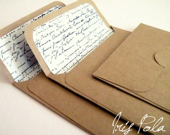 Kraft, Vintage, Script, Lined Envelopes, Handmade, Shabby Chic Wedding