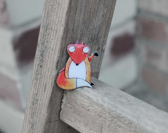 FREE shipping Fox brooch fox jewelry  Animal brooch pin Cute fox clay fox (0049)