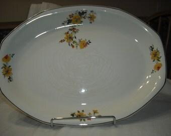 Vintage 1932 Homer Laughlin Plater, K32N Plater, Yellow Flower Plater, Serving Plater, Meat Dish