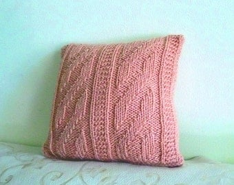 Hand-knitted 12x12 inches throw pillow cover with zipper in Rose color.