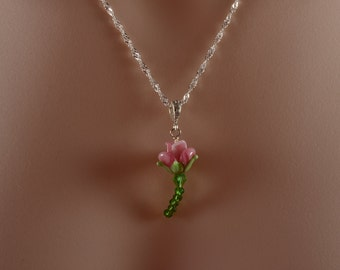 Pink Rose Necklace, Red Rose Necklace, Green Crystals, Valentine's Day Gift, Mother's Day Gift, Rose Gardener Gift, N1117