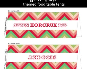 Harry Potter Party Food Labels from Honeydukes/Table Tents   Acid Pops, Cauldron Cakes,