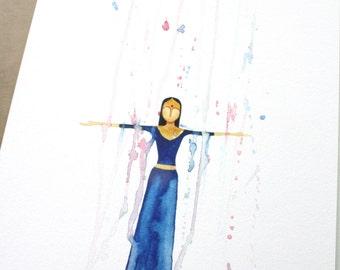 Rain Dance Bollywood style watercolour illustration - A4 Giclee Art Print